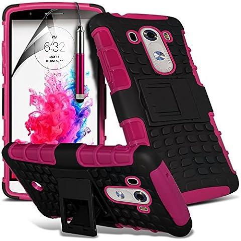 (Hot Pink) LG G3 D855 hülle hulle Schutzhülle Case Hochwertige starke und haltbare Survivor Hard robuste Stoßfest Heavy Duty bei zurück Stand Skin hülle hulle Schutzhülle Case Cover& Screen Protector von i-Tronixs