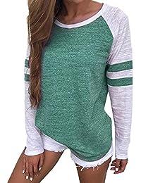 VONDA - Camiseta de béisbol, de manga larga, con cuello redondo, blusa holgada para mujer