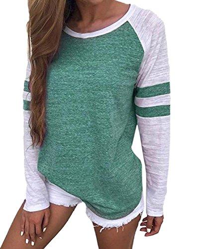 Cropped Jeans Spandex (VONDA Damen Langarm Baseballshirt Casual T-Shirt Langarmshirt Tee Farbabstimmung Tops A-Grün S)