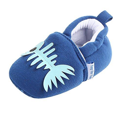 kingko® Frühling und Herbst niedlichen Baby kann nicht leisten, Schuhe weichen Boden rutschfeste Baby Schule Schuhe Sole Material Gummisohle Material der Schuhe Leinwand Blau