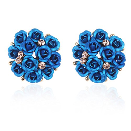 Shining Diva Fashion Pink Floral Gold Plated Stud Earrings for Women(9178er)