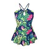 Lover-Beauty Bademode Frauen Bikini schulterfrei Sexy Blumen Damen Badeanzug Badeanzug Grün weiß gestreift Damen Bikini Blumen Vintage