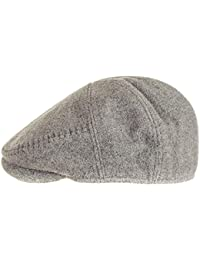 Black Grey Wool Flat Cap