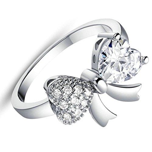 Daesar Versilbert Damen Ring Silber Verlobungsring Ring Bowknot Silber Ring mit Stein Größe:52 (Unglaublichen Baby Kostüme)