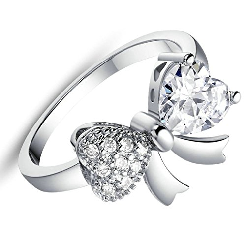 Daesar Versilbert Damen Ring Silber Verlobungsring Ring Bowknot Silber Ring mit Stein Größe:52 (Kostüme Ideen Rapper)