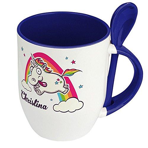 Löffeltasse mit Namen Christina - Motiv Verrücktes Einhorn - Namenstasse, Kaffeebecher, Mug, Becher, Kaffeetasse - Farbe Blau
