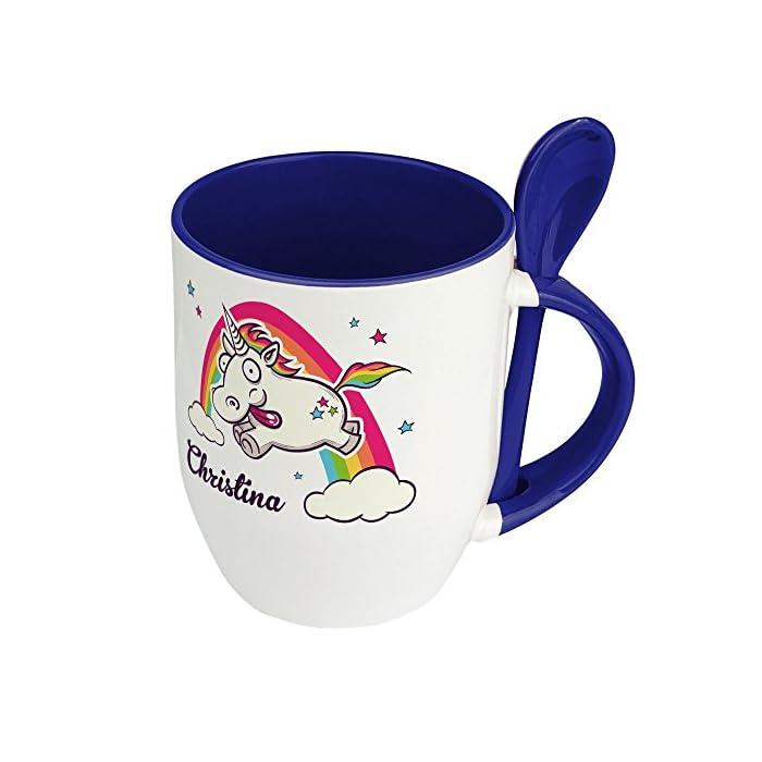Löffeltasse mit Namen Christina - Motiv Verrücktes Einhorn - Namenstasse, Kaffeebecher, Mug, Becher, Kaffeetasse - Farbe Blau 1
