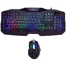 Rii RK400 LED-Hintergrundbeleuchtung 7 Farben Helligkeit USB wasserdicht Gaming Tastatur und Maus Set, maus mit 1000-1600-2000 DPI und 4 Tasten, QWERTZ DE Layout für Pro Gamer schwarz(Gaming Tastatur und Maus Set)