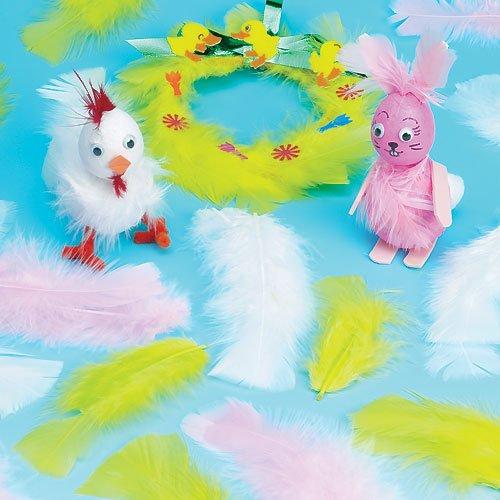 Federn (in Gelb, Weiß und Rosa) in Frühlingsfarben für Collagen, Kostüme und Osterdeko (130 Stück)