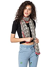 Chumbak Women's Viscose Owl Party Pom Pom Scarf (Multicolour, Medium)