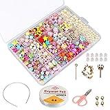 phogary Kinder DIY Perlen Set (500pcs), DIY Armbänder Halsketten Perlen für Schmuckherstellung für Kinder Bead Halskette Armband, Kit als Perlen Geschenk-Kit für Mädchen