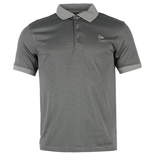Dunlop Herren Gestreift Poloshirt Kurzarm T Shirt Top Freizeit Polohemd Grau Extra Lge (Rugby-shirt Kurzarm-gestreiften)