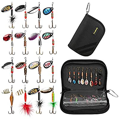 PLUSINNO Fishing Lure Tackle, Fishing Gear Lures Kit Set,Bass Lures Trout Lures Hard Metal Spinner Baits Kit from PLUSINNO