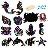 Scratch Art Sirena,LANMOK 48hojas Papel de Rascar Mundo Submarino Manualidades Rascar Animales Marinos para Regalo Cumpleaño Infantile Escuela Clase de Manualidad(12 palitos de Madera y 48Cintas)