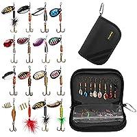 PLUSINNO señuelos de la pesca para señuelos del hilandero del bajo con la bolsa llevada portable, señuelos bajos de la trucha