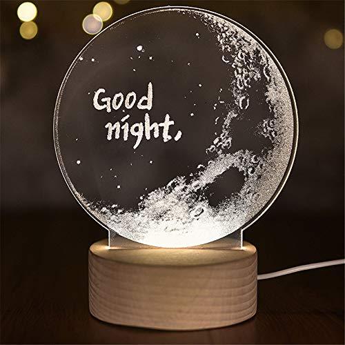 PDDXBB Scultura Interna 3D Moon Nightlight Good Night Lampada da Tavolo LED Baby Night Night Light Home Decor White 21 * 15Cm (Interruttore Dimmer con Sfondo Spesso)