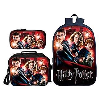 YHJ backpack Mochila para Niños Juego De 3 Piezas Mochila Escolar para Niños 3D De Harry Potter + Bolsa De Almuerzo + Estuche para Lápices A-16.5inch