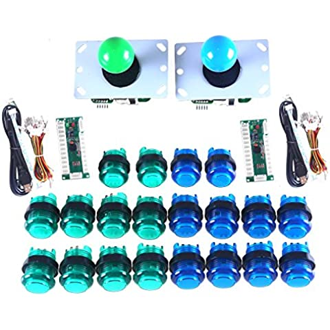 WINIT LED Arcade DIY Parts 2x Zero Delay USB Encoder + 2x 8 Way Joystick + 20x LED Illuminated Push Buttons for Mame Jamma Arcade Project Green + Blue