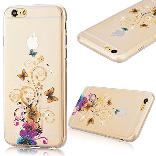 GrandEver iPhone 6S Hülle, iPhone 6 Weiche Silikon Bumper und Hardcase Strass Diamant Hart Backcover Transparent Glitzer Handyhülle mit Blumen Muster Schlank HandyTasche Flexible Bling Schutzhülle Zur Schmetterling und Blumen