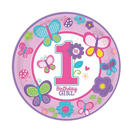 Partyteller 8 Mädchen Geburtstagsteller Sweet Birthday 23 cm Partygeschirr Speiseteller Geburtstag Pizzateller Tischdeko Essteller Kindergeburtstag Pappteller Einwegteller Grillteller Partyteller