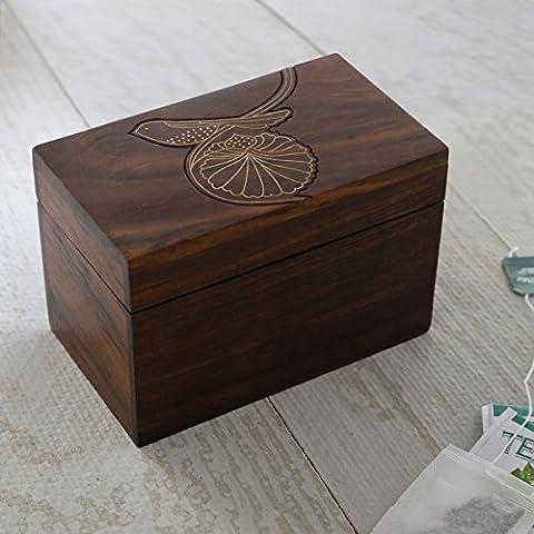 Store Indya, Caja de madera de almacenamiento de te Organizador compacto hecho a mano con el arbol de diseno en relieve de la vida
