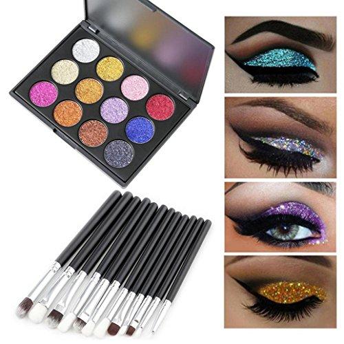 LCLrute Neue 12 Farben Eyeshadow und 12 Stück Make-up Pinsel Augen Pulver Shadow Set (Mehrfarbig)