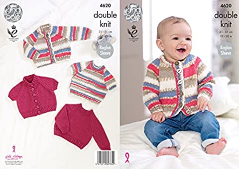 King Cole Baby DK Knitting Pattern - Raglan Sleeve Long Short Sleeved Sweaters or Cardigans (4620)