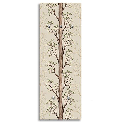 Feeby, Patère Murale, Porte-Manteau Déco, Crochets sur Tableau Deco Panel, 118x40 cm, Arbre, Branches, Marron
