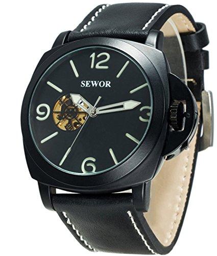 Sewor Mens Business Leather Automatic Mechanical Watch Black Case Calendar Switch Crown Wristwatch Luminous Pointer+Scale (Black)
