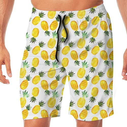 OOworld Men's Swim Trunks Watercolor Pineapples_2572 Quick Dry Beach Wear Shorts Swimwear with Pockets,XL