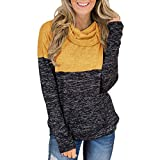 Sweatshirt Damen,❤️Binggong Damen Rollkragenpullover Tops Splice Solid Hemden Tunika Langarmpullover