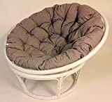 Rattan Papasansessel , Papasan Sessel inkl. hochwertigen Polster , D 110 cm , Fb. weiß lackiert , Polster Loneta dunkel grau