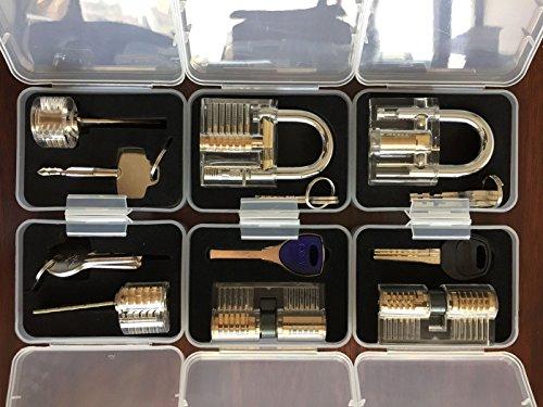 Godlock - Candados y cerraduras con diseño transparente para entrenar habilidad, ideal para cerrajeros principiantes - 6 unidades