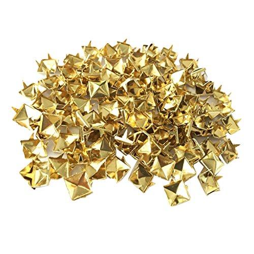 non-brand Sharplace 100pcs Roblones de Pirámide Forma Decoración Artesanía Cuero Personalizado Arte DIY Leathercrafts - Oro