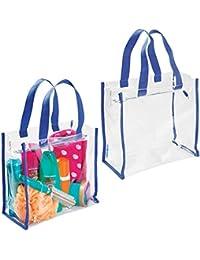 mDesign Juego de 2 bolsos de viaje para accesorios – Práctica bolsa de playa o neceser para productos de belleza y cosméticos – Moderna bolsa multiusos de plástico PVC – transparente/azul