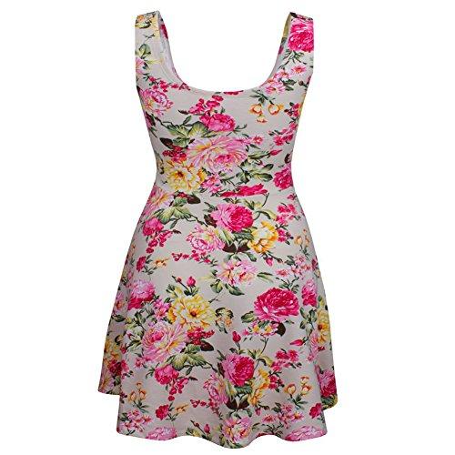 Minetom Damen Sommer Elegant Kleid Blumenmuster O-Ausschnitt Ärmellos Mini Kleider Floral Cocktail Strand Sundress Beige