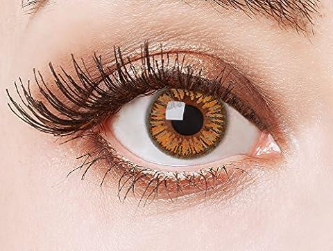 Couleur des lentilles de contact Orange Lilly de aricona – années couvrant la lentille à terme pour les yeux sombres et claires- sans correction- les lentilles colorées pour le carnaval- des soirées à thème et des costumes d'Halloween