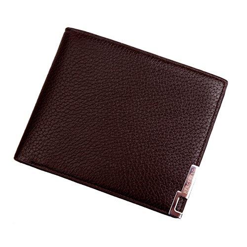 Herren Geldbörse Braun Leder Genarbter Portemonnaie Männer Geldbeutel Brieftasche Querformat Portmonee Börse in Geschenkbox Stil 2