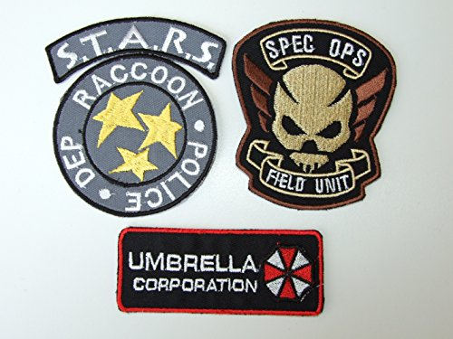 Resident Evil Umbrella/STARS Uniform/Costume Patch Set of 3 Bügelbild Aufnäher Applikation (Star Uniform)