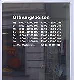 Öffnungszeiten Maxi Schaufensterbeschriftung Aufkleber Werbung Laden Geschäft Weiß Breite 35 cm