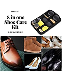 CONNECTWIDE Men's Shoes Cleaning Kit with Box Wooden Handle Brushes