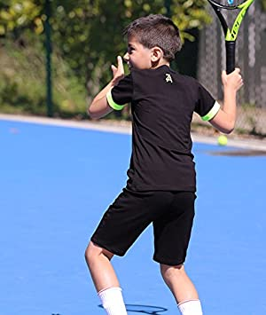 ac4944473b37ee LUCAS BOYS BLACK TENNIS TOP AND SHORTS JUNIOR TENNIS APPAREL: Amazon.co.uk:  Sports & Outdoors