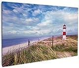 Wallario Leinwandbild Leuchtturm am Strand von Sylt - 60 x 90 cm: Brillante lichtechte Farben, hochauflösend, verzugsfrei