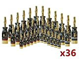 MutecPower 36x Bananenstecker/Adapter für Lautsprecherkabel bis 5,5mm - 5.1 Surround Set (12 Stück) - für 6 Boxen