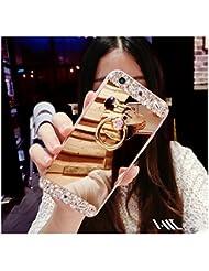 FESELE Coque Samsung Galaxy S4, Samsung Galaxy S4 Cas,Coque Samsung Galaxy S4 Miroir [ Bague Supporter] Luxe Crystal Rhinestone Bling diamant Briller TPU Souple en Caoutchouc Pare-chocs de Cas Miroir de Maquillage de Cas Caoutchouc Silicone Souple Étui Protecteur Anti-Scratch Bumper pour Samsung Galaxy S4 + 1 X Stylo Bleu - D'or