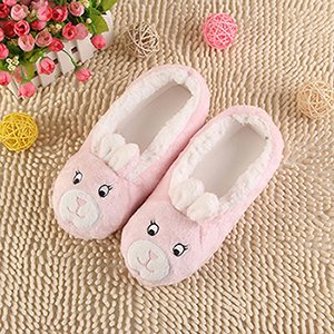 LEPAKSHI pink rabbit, 5 : 2017 New Warm Flats Soft Sole Women Indoor Floor Slippers/Shoes Animal Shape White Gray Cows Pink Flannel Home Slippers 6 Color