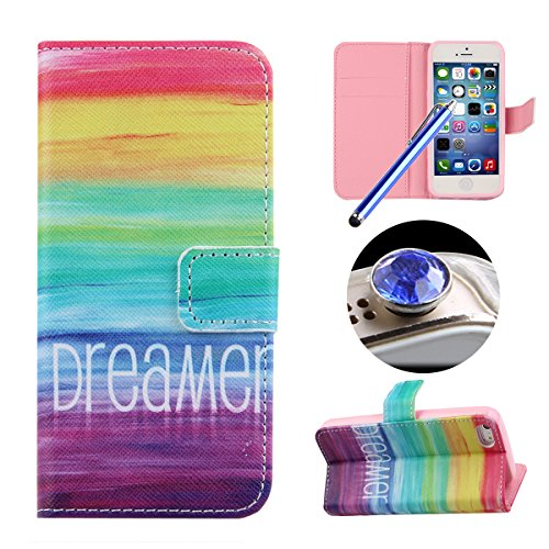 Etche iPhone 5/5S Coque,Ultra Slim Mince Flip PU Cuir Housse Etui coque pour iPhone 5/5S,Colorful pissenlit pétales de fleurs Arbre Feather Etui de Protection Case Portefeuille Coque Housse Flip Coqui coloré dreamer