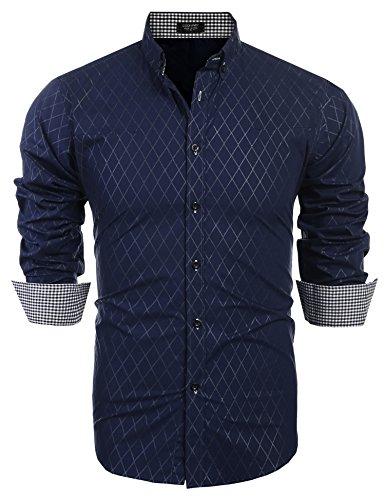 COOFANDY Herren Hemd Diamant-Gitter slim fit kariert Kent-Kragen Langarmshirt Businesshemd
