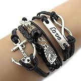 Chianrliu Chouette De L'Infini Amour Ancre Amitié Leather Charm Bracelet Argent Mignon