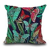 Goosuny Vintage Blume Tropisch Blätter Kissenbezug 45X45 Cm Taillen Dekokissen Kasten Weich Bequem...